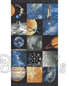 Space solar system planets cotton quilting fabric panel for Space fabric uk