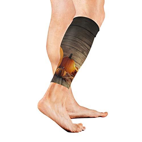 AGIRL Halloween-Kürbis mit brennenden Kerzen Kalb-Kompressionshülse-Bein-Kompressionssocken für Schienbeinschiene Kalb-Schmerz-Entlastungs-Mann-Frauen und Läufer verbessert Kreislauf-Wiederaufnahme