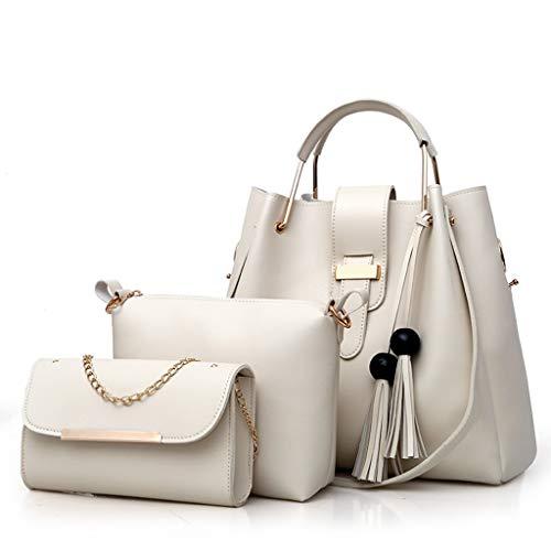 SSUPLYMY Dreiteilige Lederhandtasche Messenger Bag Mode Frauen im Freien Einfarbig Damenhandtaschen Schultertaschen Mutter Paket Damen Große Kapazität Schulter Messenger Bag