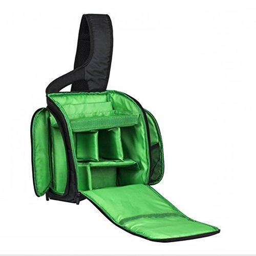 Freedom-vp Kameratasche Fototasche mit Fächern Reisekameratasche Schultertasche für Reise Urlaub Uni Kameramann Nikon Canon sehr praktisch Tasche rucksack (Grün)