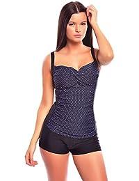 Femme Figure Optimizer/ Push Up tankini avec shorts / Points / flaJ-f4987DH