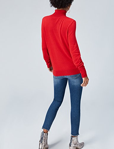 FIND Damen Rollkragen-Pullover Rot (Fiery Red)