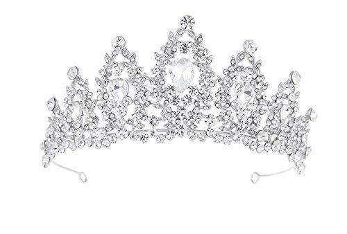 ilber Strass Braut Groß Krone Hairband Kuchen Krone Tiara Prinzessin Prom Hochzeit Zubehör ()