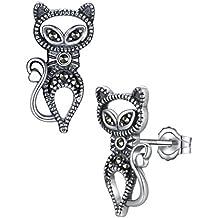 Aoiy - Pendientes de las mujeres en plata de ley oxidado, Gato con Marcasita, zge001he