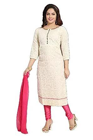PC Chandan Creation Cotton Straight Kameez in Cream