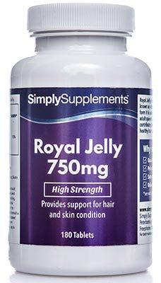 Jalea Real 750mg - 180 Comprimidos - Hasta 6 meses de suministro - Rico en aminoácidos para el cuidado de la piel - SimplySupplements