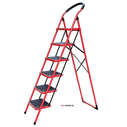 Household heavy duty Steel Ladder Red EN131 approved Bonrgo (6 Steps) by Stella Traders