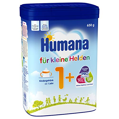 Humana Kindergetränk 1+, Milchpulver zum Anrühren, enthält Calcium, Vitamin A & D mit Altersgerechtem Eiweißgehalt, ab dem 1. Jahr, 650 g