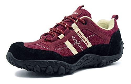 Knixmax-Zapatillas de Senderismo para Mujer, Zapatillas de Montaña Trekking Trail Ligeros Cómodos y Transpirables, Zapatillas de Seguridad Low-Top Antideslizante Deporte Al Aire Libre, Rojo Vino,38EU