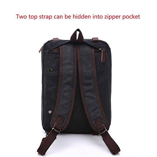 Kobwa Vintage 3 in 1 Laptop Notebook Tasche Canvas Laptoptaschen Rucksack Schultertasche für Herren und Damen Schwarz