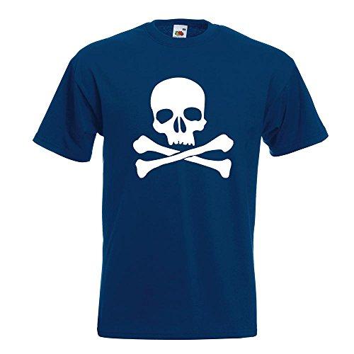 KIWISTAR - Totenkopf - Todessymbol - Piratenzeichen T-Shirt in 15 verschiedenen Farben - Herren Funshirt bedruckt Design Sprüche Spruch Motive Oberteil Baumwolle Print Größe S M L XL XXL Navy