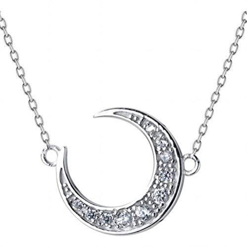 katylen - necklace S925 Silber Halskette Weiblichen Einfachen Diamanten Mond Süße Kurze Halbmond Gebogene Schlüsselbein Kette, S925 Silver Necklace (Diamant-halbmond Halskette)