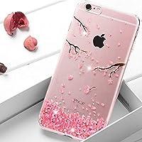 Homikon Silikon Hülle Rosa Blume Glänzend Glitzer Diamant TPU Tasche Cherry Blossom Handyhülle Transparente Durchsichtig... preisvergleich bei billige-tabletten.eu