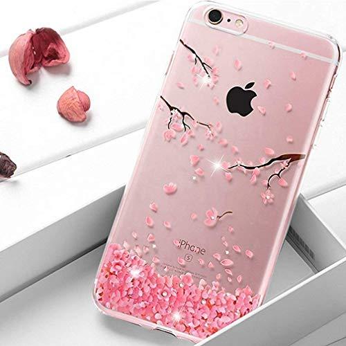 Homikon Silikon Hülle Rosa Blume Glänzend Glitzer Diamant TPU Tasche Cherry Blossom Handyhülle Transparente Durchsichtig Weiche Schutzhülle Stoßdämpfend Case Kompatibel mit iPhone 7 Plus/8 Plus -