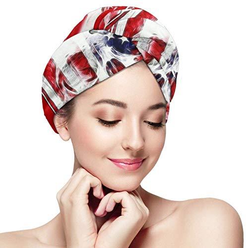 Xukmefat Amerikanische Flagge Schädel Haare trocken Handtuch Wickeln schnell trocknen Super saugfähige Frauen Magic Hair Head Dry Caps mit Knopf -