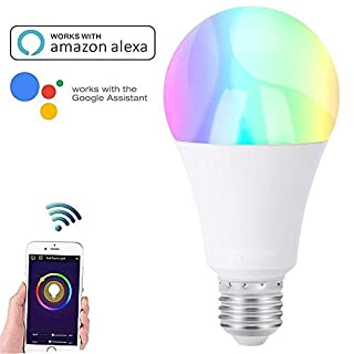 Smart Alexa Lampe, JVMAC RGB Dimmbar Warmweißes E27 Intelligente Smart WIFI Lampe, Steuerbar via App, kompatibel mit Amazon Alexa [Echo, Echo Dot] und Google Home für IOS und Android [Energieklasse A+]