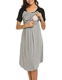 Conquro Verano algodón Moda cómoda Retro Mujeres Embarazadas amamantando Mujeres Embarazadas cosiendo Color Manga Corta Vestido