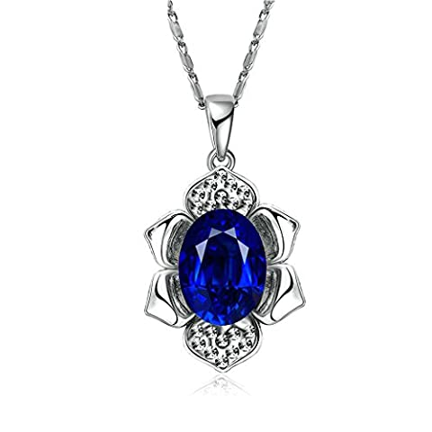 Gnzoe Silver Plated Shiny Flower Shape Inlaid Blue Cubic Zirconia Silver Pendant Necklaces for