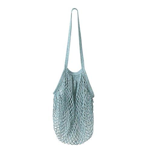 Damen Shopper Taschen FORH Frauen Einkaufstaschen Netze Tasche aus Baumwolle Tote Mesh Woven Net Umhängetasche für Sandspielzeug, Obst, Gemüse,Shopping Wiederverwendbar (Blau)