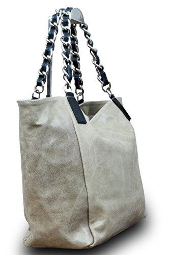 Made in Italy Luxus Damen Schultertasche Shopper Donna Bella Kette Leder , Farbe:Beige Beige