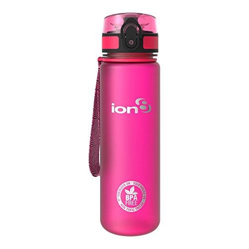 Ion8 auslaufsichere schlanke Wasserflasche / Trinkflasche, BPA-frei,Rosa (Frosted Pink), 500ml / 18oz