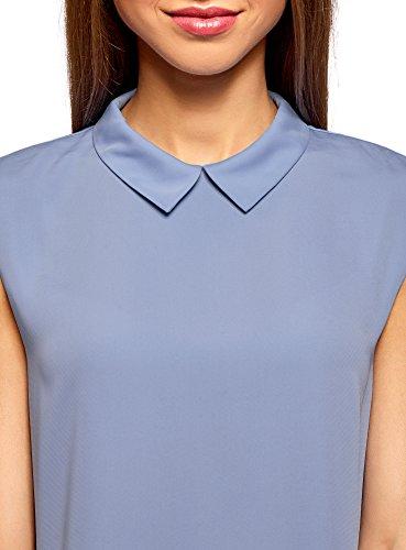oodji Ultra Damen Ärmellose Bluse Basic mit Kragen Blau (7500N)