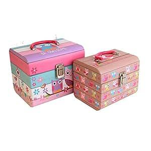 Lot de 2boîte de rangement motif chouette Rose Filles Accessoires Coffre Jouets Souvenir cadeau