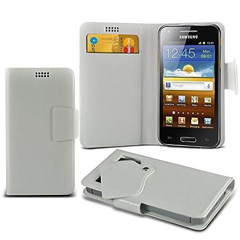 (White) Samsung I8700 Omnia 7 Super dünne Kunstleder Saugnapf Wallet Case Hülle mit Credit / Debit Card SlotsBy