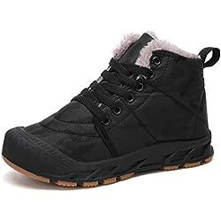 Veluckin Zapatos Invierno Niño Botas de Nieve de Camuflaje Niña Botas de Senderismo, Negro,36 EU