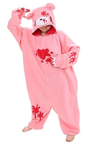 BRLMALL Erwachsener Unisex Schlummer Partei Tier Schlafanzug Kigurumi Cosplay Kostüm-Pyjamas (XL, Pink Gloomy) (Pink Cookie Monster Kostüm)