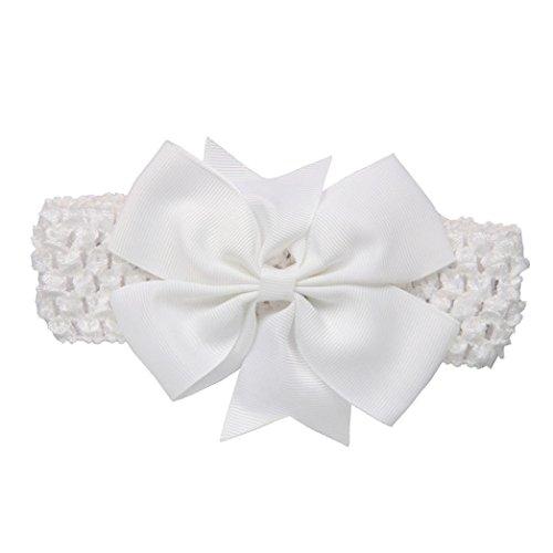 erthome Baby Haarnadel, Kinder elastisches Blumen Stirnband Haar Mädchen Baby Bowknot Haarband Set 3Pcs (Spitzen-Schleife Weiß) -