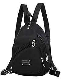 be3d1590a9f55 JUND Nylon Wasserdicht Damen Brust Pack Mode Lässig Rucksack Frauen  Einfarbig Daypack Versatile Outdoor Travel Backpack