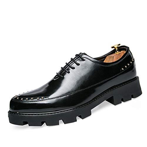 Apragaz Herren Klassische Business Oxford Lace Up Lackleder Formale Kleid Schuhe Dicke Unterseite Weiche Sohle Comfort Loafer (Color : Schwarz, Größe : 43 EU) - Sohle Comfort Schuhe