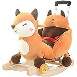 El bebé de Trojan del bebé de los niños de Rocking Horse con música Juguete del bebé de la Silla Mecedora con la Barra de Empuje Cunas oscilantes 60 * 28 * 60cm Rollsnownow