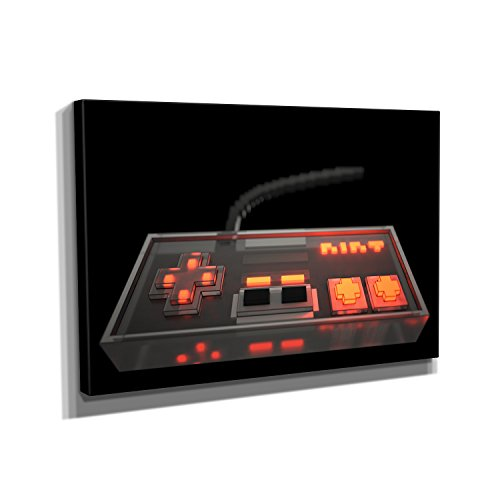 Nerdinger Voxel Retro Gamepad - Kunstdruck auf Leinwand (90x60 cm) zum Verschönern Ihrer Wohnung. Verschiedene Formate auf Echtholzrahmen. Höchste Qualität.