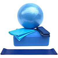 Explopur Conjunto de Equipo de Yoga - Paquete de 5 Piezas - Incluye Bola de Yoga Bloques de Yoga Correa de Estiramiento Resistencia Loop Band Banda de Ejercicio