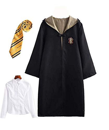 Fanessy. Harry Potter Kinder Erwachsene Kostüm Umhang Fancy Dress Cosplay Outfit Set Zauberstab Krawatte Schal Brille Brillengestell Hut Hemd Rock Karneval Verkleidung Fasching Halloween ()