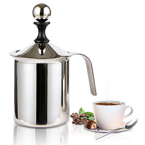 Zoiibuy Milchschäumer, 400ML Edelstahl Hand Manuelle Milchaufschäumer mit Doppel Mesh, Schaumbecher Schaumstoff Sahnekännchen für Kaffee, Latte, heiße Schokolade Kaffee Cappuccino