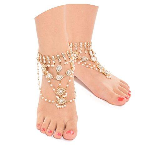 Bishilin 2 Pcs Damen Fußkette Gold mit Perlen Weiß Zirkonia Knöchelkette Boho Strand Kette Gold