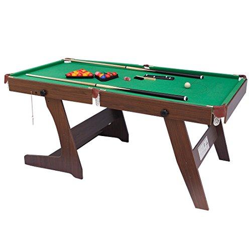 HLC, tavolo da biliardo pieghevole da 183 cm con palle e altri accessori, Green