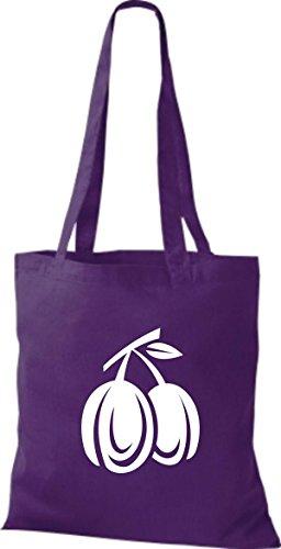 ShirtInStyle Stoffbeutel Baumwolltasche Dein Lieblings Obst und Gemüse Pflaumen Farbe Pink lila