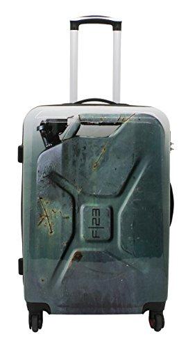 F|23, Hartschalen Trolley, Höhe: 60 cm, Mit Zahlenschloss, 4-Rollen-System, Tape, Voyage, Weiß/Grau, 77051-16 Anthrazit