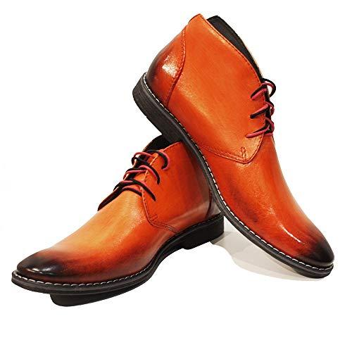 PeppeShoes Modello Orango - 46 - Handgemachtes Italienisch Bunte Herrenschuhe Lederschuhe Herren Orange Stiefeletten Chukka Stiefel - Rindsleder Handgemalte Leder - Schnüren -