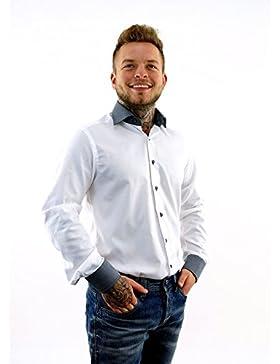 ETERNA Herren Langarm Hemd Modern Fit Kontrast-Kragen ohne Brusttasche weiß 8102.00.X07K