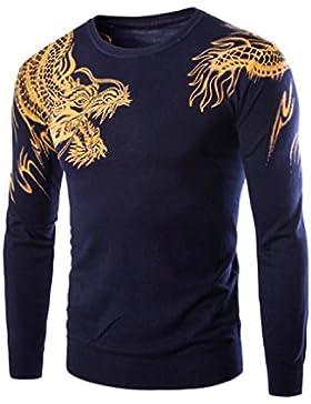 HY-Sweater Hany Hombres Pull Slim Estampado de Dragones de Protectora, Azul Marino, 180/92A