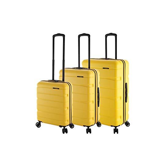 Rada Koffer Set Hartschale 4 Rollen (3-TEILIG) aus robustem ABS-Material, Reise Trolley Damen und Herren, inkl. Handgepäck (gelb)