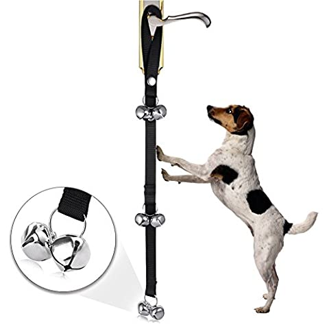 Juleya Dog Potty Training Door Bells/House training Doorbells - included 6 Pcs Large Loud Doggy Bells - Easy for Toilet Training - Length Adjustable doorbell Black