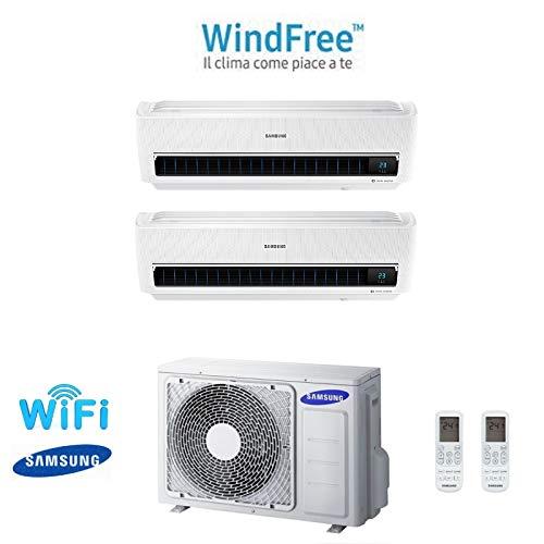 Climatizzatore condizionatore dual split samsung windfree light 9000+12000 btu 9+12 aj050fcj2eh a++ inverter wifi gas r410