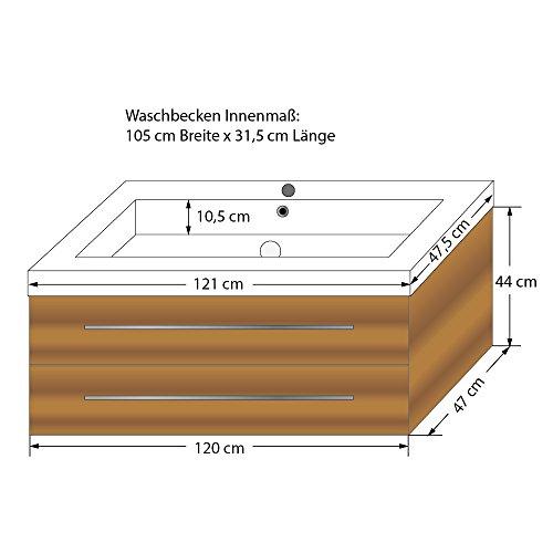Waschtisch mit Waschbecken, Unterschrank City 101 120cm Eiche hell - 4