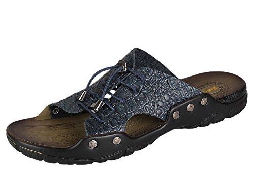 insun hommes de motif Croco en cuir plat sandales Bleu - bleu